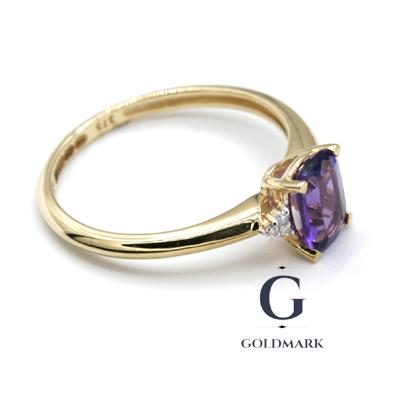 Amethyst diamond dress ring in gold
