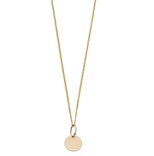 18 inch yellow gold chain holding an 8mm plain yellow gold disc from it.
