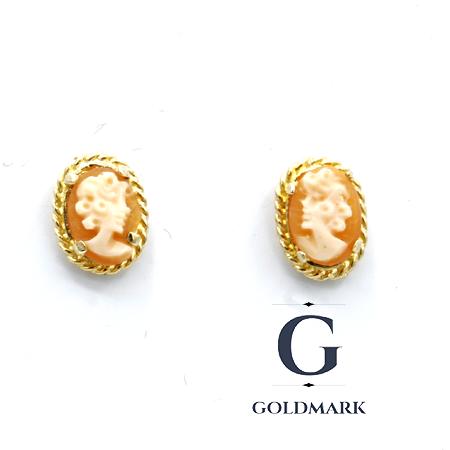 Cameo shell gold earrings