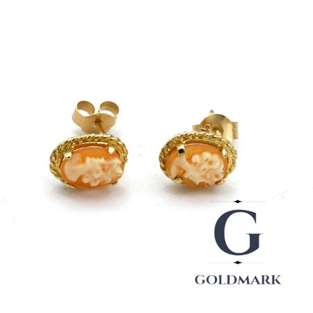 Gold cameo shell earrings