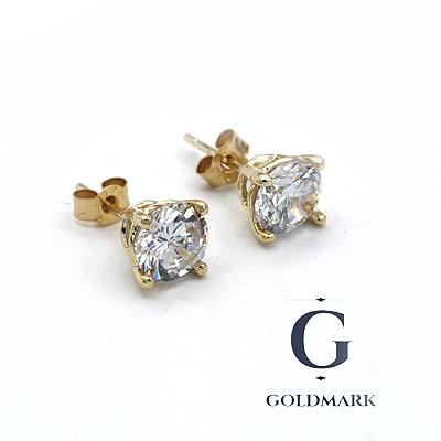 Gold cubic zirconia ear studs