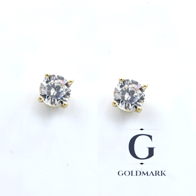 Round Gold cubic zirconia ear studs