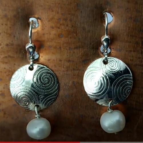 Silver Newgrange freshwater pearl earrings