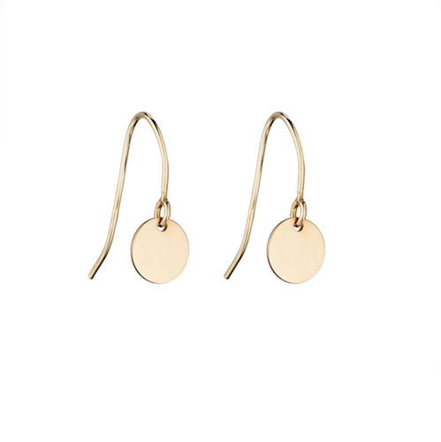 Small, plain gold disc drop earrings