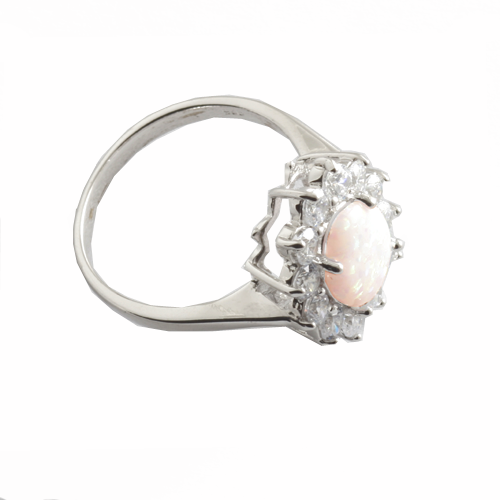 Silver opal cluster ring