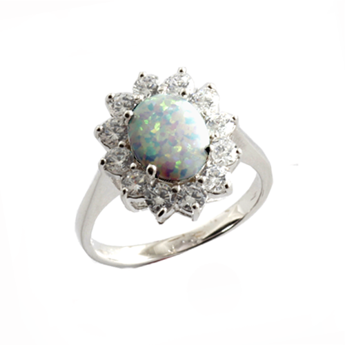 opal cluster ring in silver