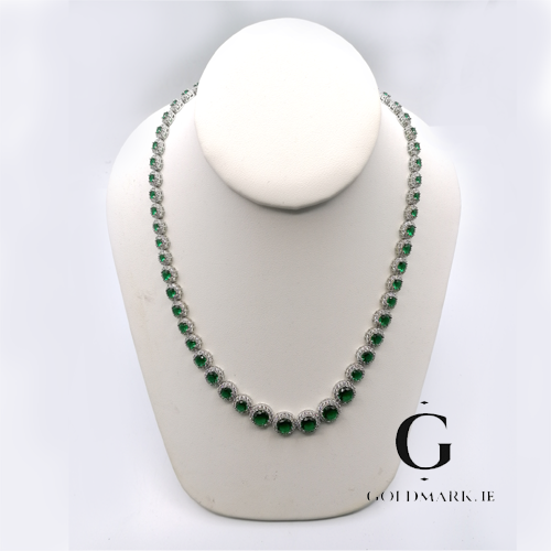 Beautiful Emerald green cubic necklace